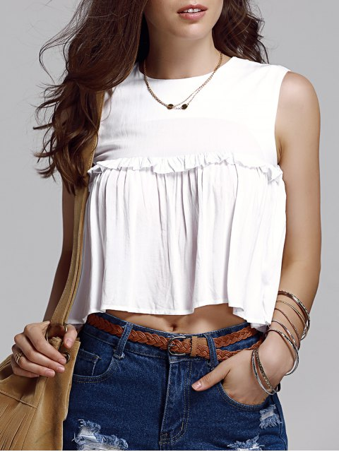 lady Frilled Pure Color Top - WHITE L Mobile
