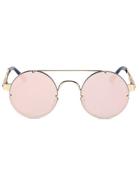 ladies Golden Crossbar Retro Round Mirrored Sunglasses - PINK  Mobile