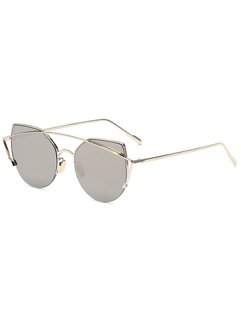 outfits Gold Crossbar Cat Eye Mirrored Sunglasses - SILVER  Mobile