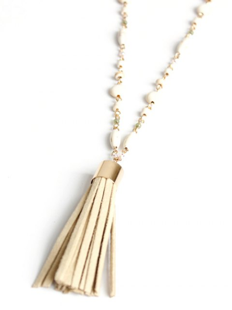 chic Bead Chain Tassel Necklace - GOLDEN  Mobile