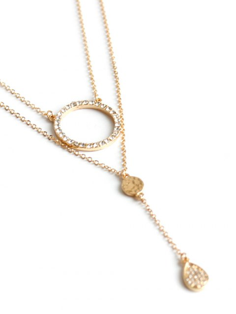 sale Rhinestone Circle Layered Necklace - GOLDEN  Mobile