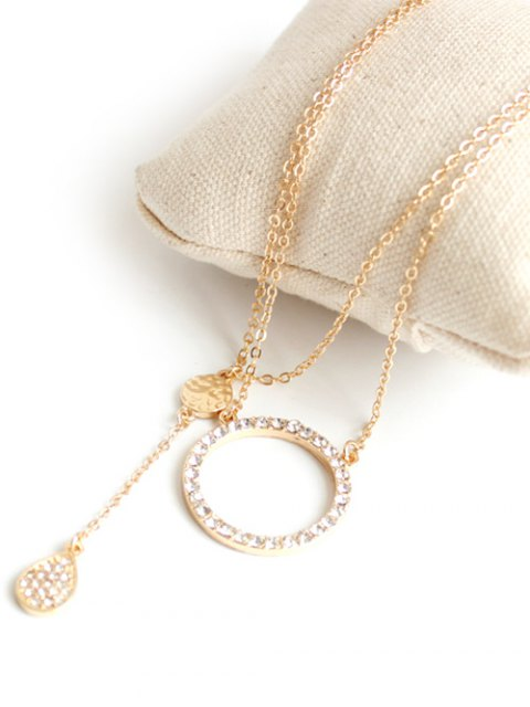 sale Rhinestone Circle Layered Necklace - GOLDEN  Mobile