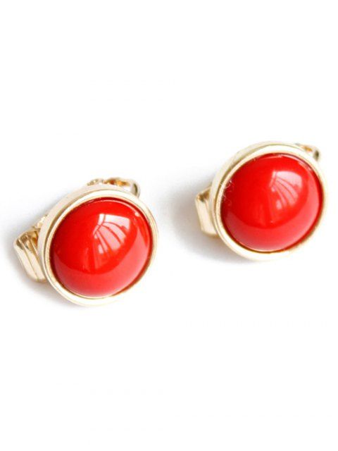 trendy Red Round Clip Earrings - RED  Mobile