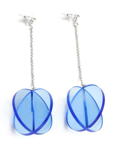 Translucent Drop Earrings - Blue
