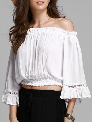 Hollow Out Off The Shoulder Cropped T-Shirt - White