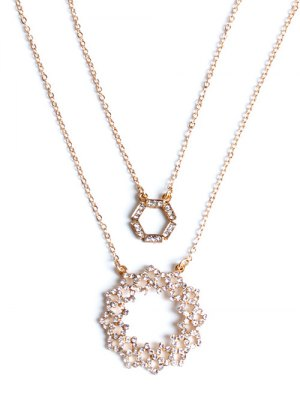 Rhinestone Hollowed Layered Necklace - Golden