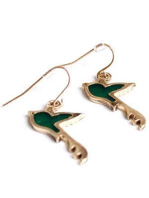 Birdie Shape Drop Earrings - Golden