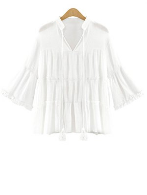 Frilled Bell Sleeve Blouse - White
