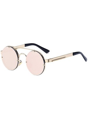 Golden Crossbar Retro Round Mirrored Sunglasses - Pink