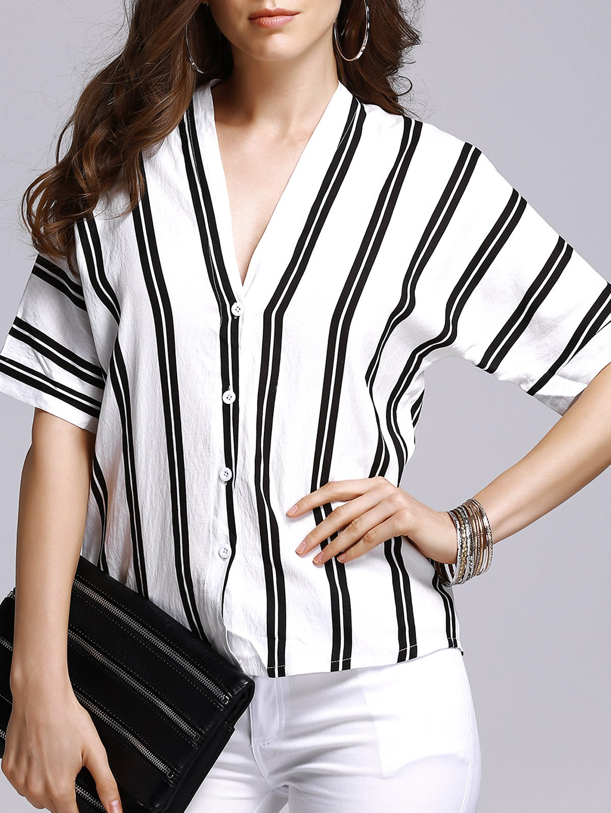Half Sleeve Double-V Striped T-Shirt