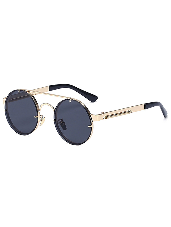 Golden Crossbar Retro Round Sunglasses For Women