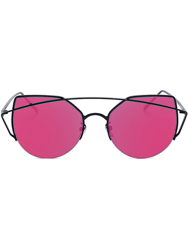 Black Crossbar Cat Eye Mirrored Sunglasses For Women