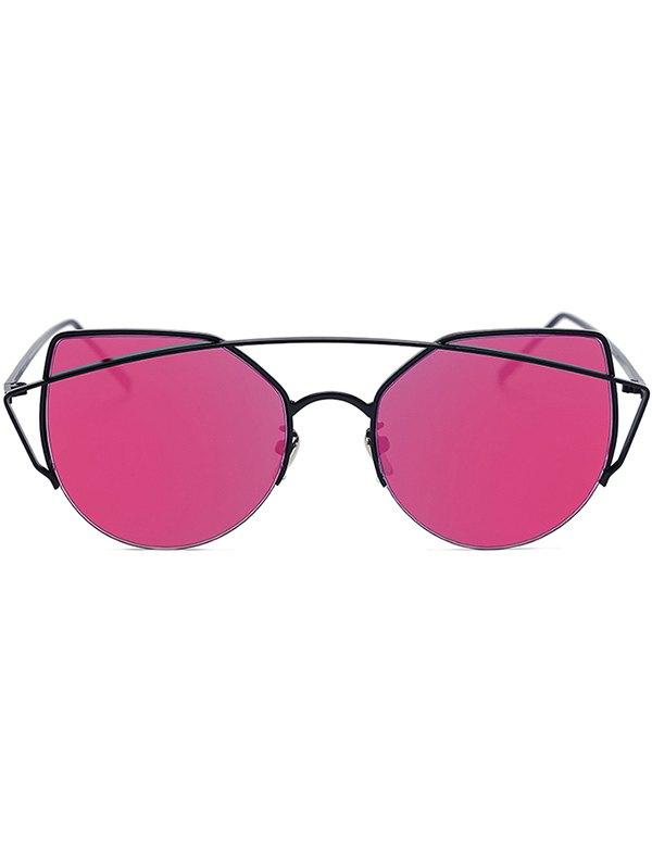 Black Crossbar Cat Eye Mirrored Sunglasses For Women