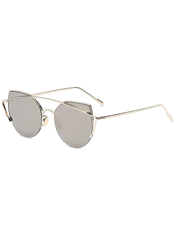 Gold Crossbar Cat Eye Mirrored Sunglasses - SILVER