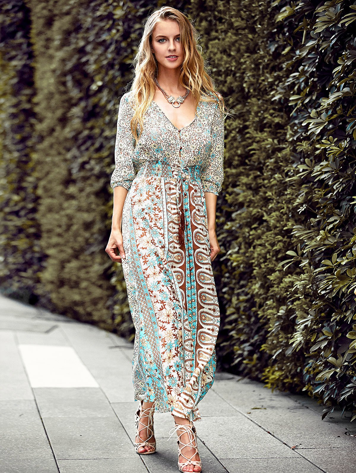 Elastic Waist Full Floral Print Front Slit Maxi Dress