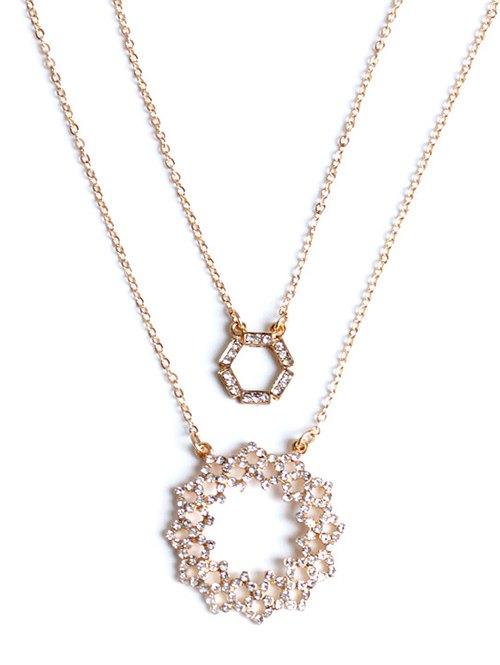 Rhinestone Hollowed Layered Necklace