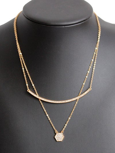 Rhinestone Bar Layered Necklace