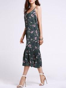 Flounce Ruffles Floral Print Cami Sleeveless Dress - Blackish Green