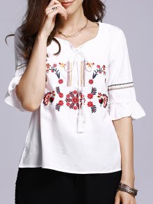 Floral Embroidery Half Sleeve Blouse