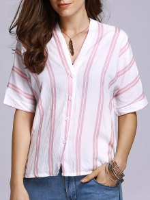 Striped Half Sleeve Double-V T-Shirt - Pink L