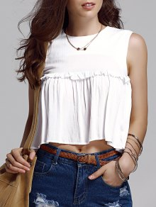 Buy Frilled Pure Color Top L WHITE