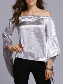 Off The Shoulder Solid Color T-Shirt - Silver