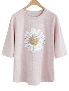 Sun Flower Round Neck 3/4 Sleeve Sequins T-Shirt - Pale Pinkish Grey 3xl