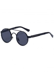 Crossbar Retro Black Round Sunglasses