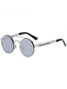 Silver Crossbar Retro Round Mirrored Sunglasses - Silver