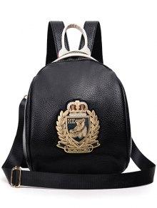 Black PU Leather Applique Backpack - Golden