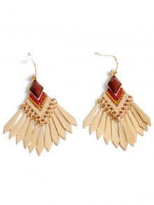Faux Gem Fringe Earrings - Golden