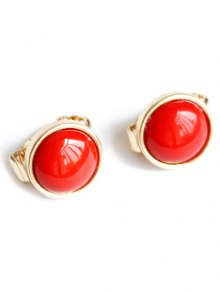 Red Round Clip Earrings