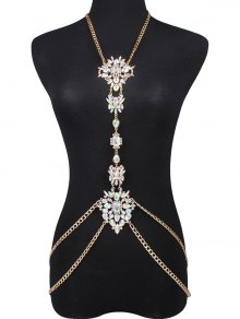 Faux Gem Water Drop Body Chain