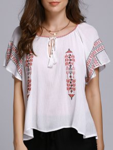 Ethnic Embroidery Round Neck Short Sleeve Blouse - White L