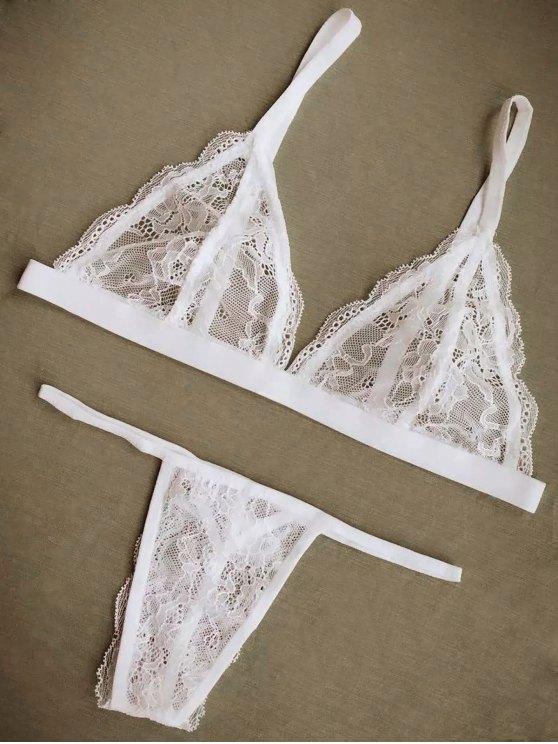 Cami Lace Bra and Briefs Lingeries Suit - Blanco L