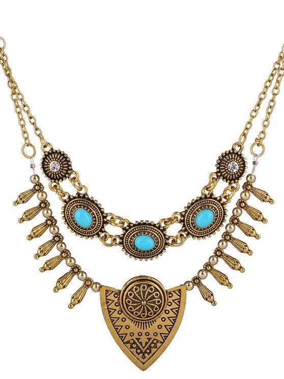 buy Rhinestone Engraving Shield Necklace - GOLDEN