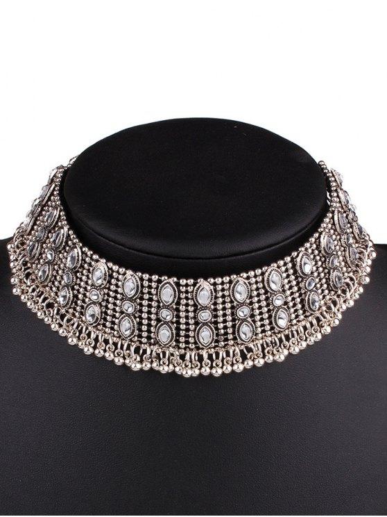 women's Faux Gem Fringe Chokers Necklace - SILVER
