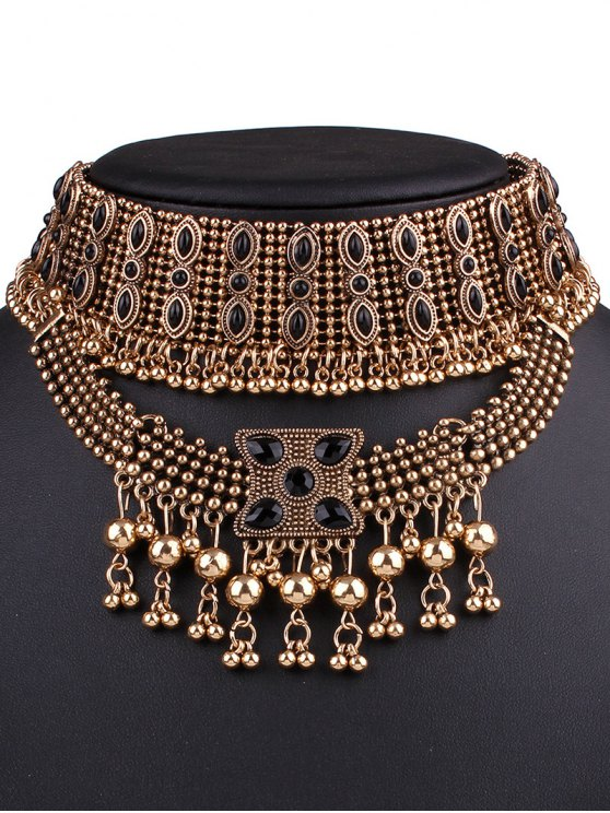 ladies Fringe Statement Chokers Necklace - GOLDEN