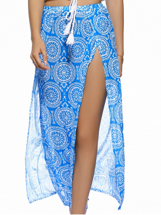 Double Slit Flowy Bohemian Skirt - BLUE L Mobile