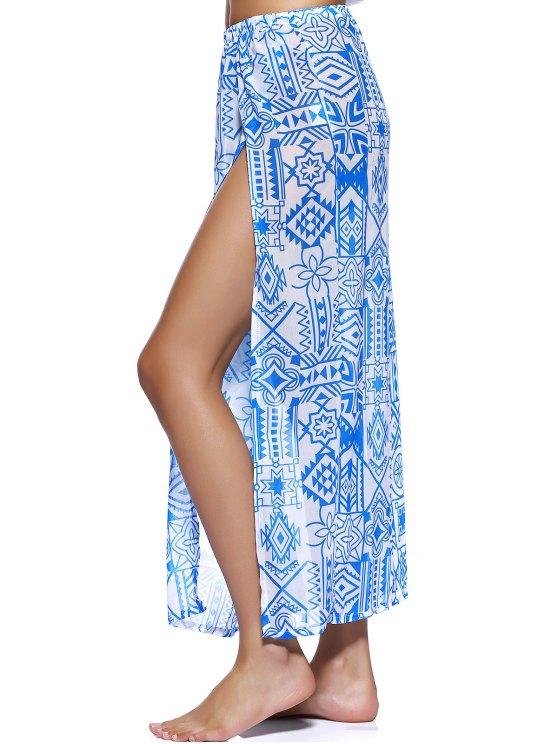 Chiffon Flowy Slit Skirt - BLUE M Mobile