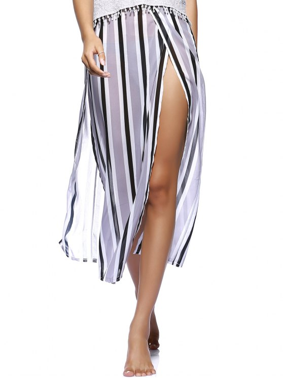 Striped Flowy Slit Dress - COLORMIX L Mobile