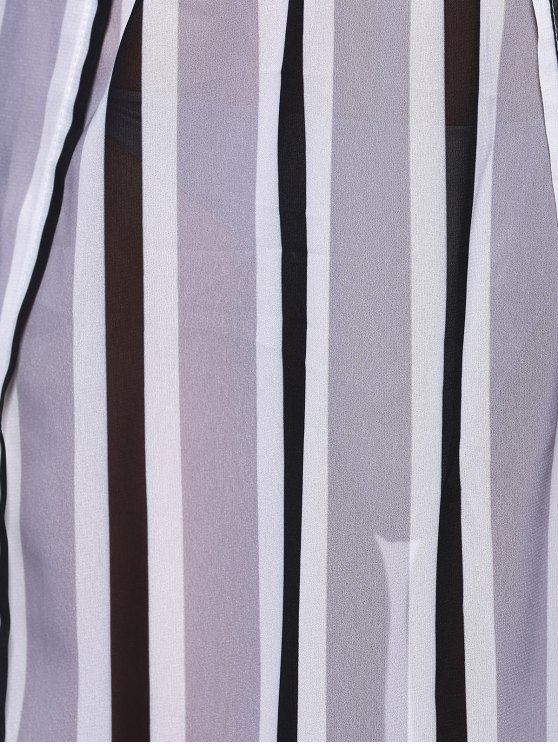Striped Flowy Slit Dress - COLORMIX S Mobile