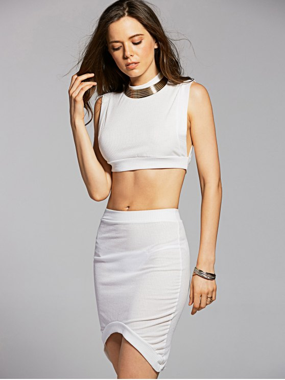 Fitted Crop Top and Skirt - WHITE XL Mobile