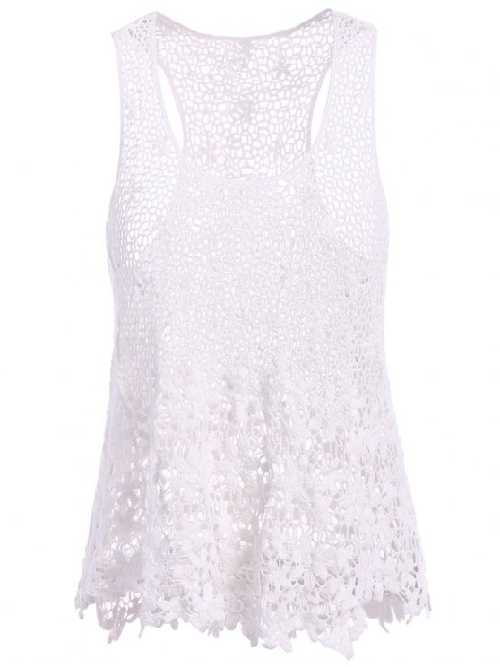 chic Floral Pattern Openwork Sleeveless Tank Top - WHITE L