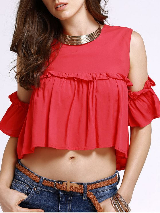 lady Frilled Pure Color Top - RED S
