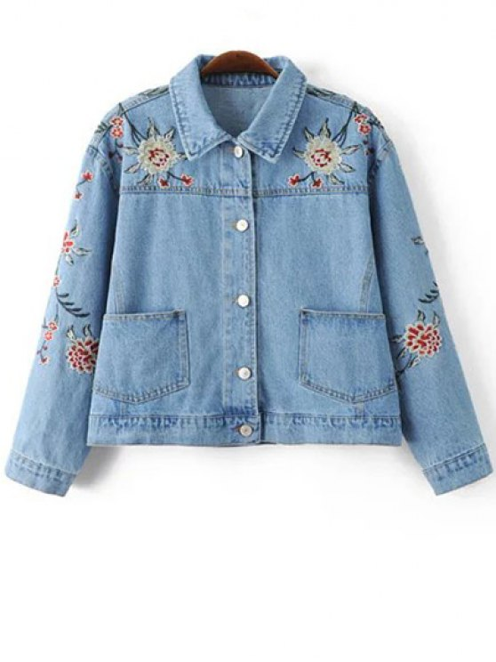 Embroidered Denim Jacket - BLUE L Mobile