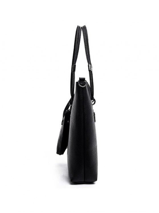 Metallic Solid Color Shoulder Bag - BLACK  Mobile