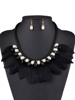 Faux Crystal Feather Necklace And Earrings - Black