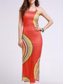 Cut Out Printed Halter Sleeveless Dress - Orangepink S