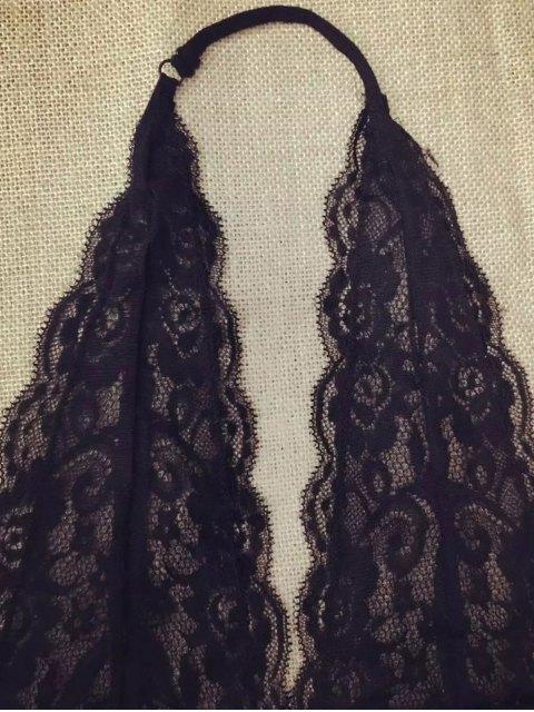shop Lace Plunging Neck Bra Top - BLACK M Mobile